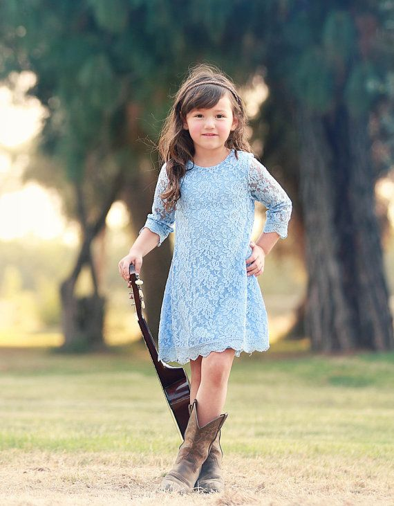 Ship- Light Blue Lace Dress- 3/4 sleeve, Flower Girl, Ivory .
