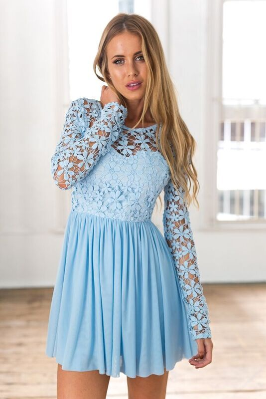 Light Blue Long Sleeve Crochet Tulle Skater Dress | Lace dress .