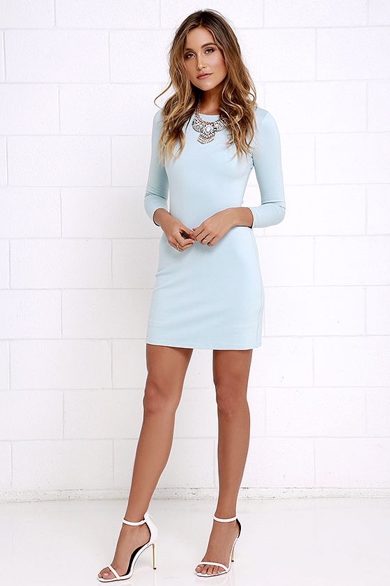 Classic Light Blue Dress - Long Sleeve Dress - A-Line Dress - $48.