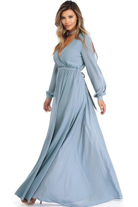 Audrina Light Blue Long Sleeve Chiffon Dress | Long sleeve chiffon .