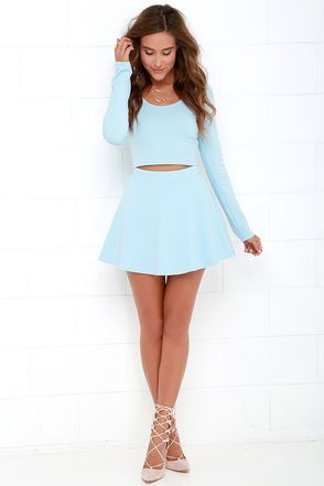 Stratosphere Light Blue Two-Piece Skater Dress | Blue long sleeve .