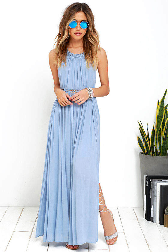 Gorgeous Light Blue Dress - Maxi Dress - Lace Dress - $59.