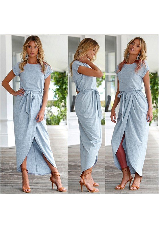 Light Blue Belt Round Neck Short Sleeve Fashion Midi Dress - Midi .
