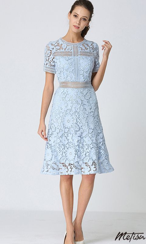 Light Blue Crochet Lace Midi Dress | Blue lace midi dress, Light .