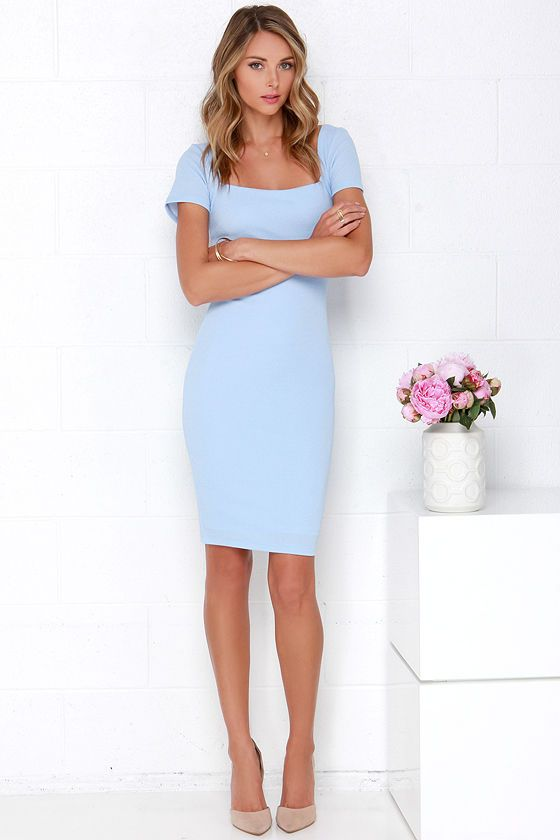Pin by Rachel Amparano on Fashion Love | Blue midi dress bodycon .