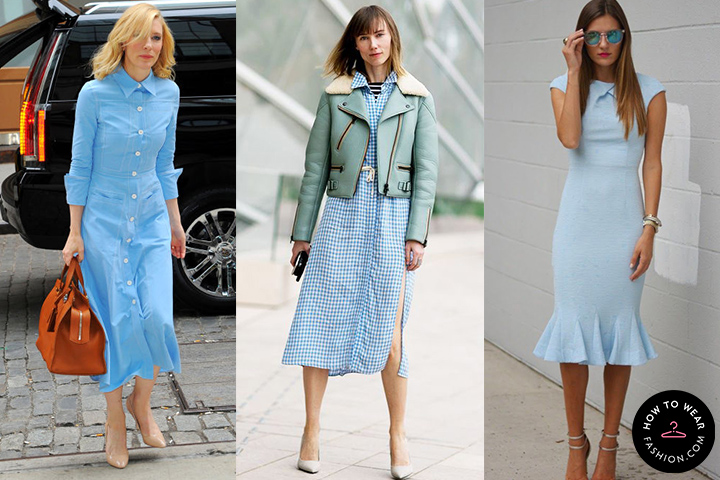 Light blue midi dresses | HOWTOWEAR Fashi