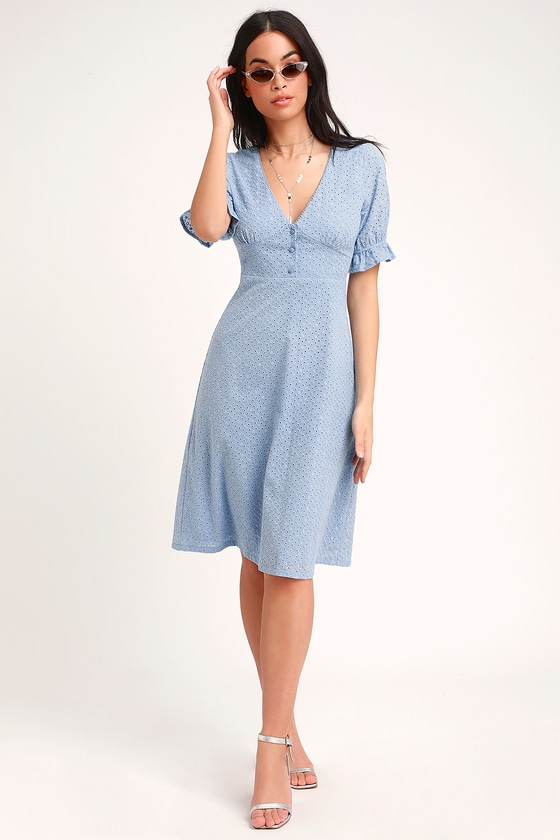 Cute Light Blue Dress - Eyelet Lace Dress - Midi Dress - Dre