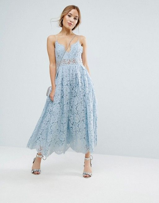 Asos Petite Lace Cami Midi Prom Dress | Asos lace dress, Dresses .