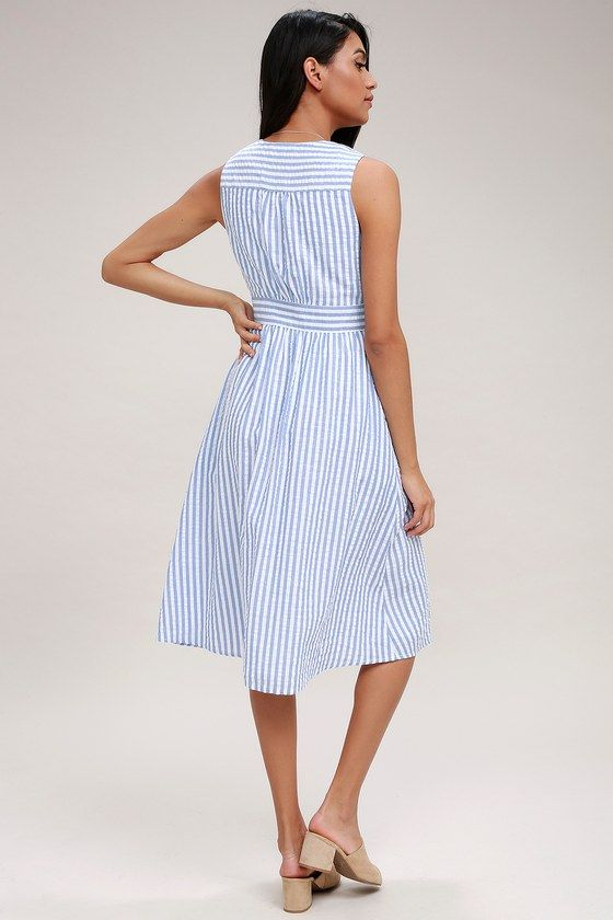Nautical Lights Blue and White Striped Button-Front Midi Dress in .
