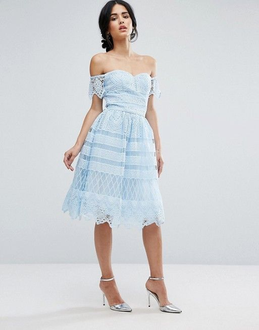 Discover Fashion Online | Light blue lace dress, Blue dress .