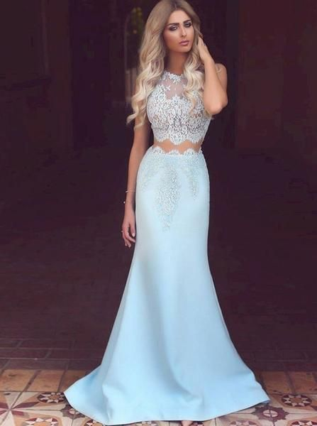 Two Piece Prom Dresses Fitted,Mermaid Prom Dress,Long Prom Dress .