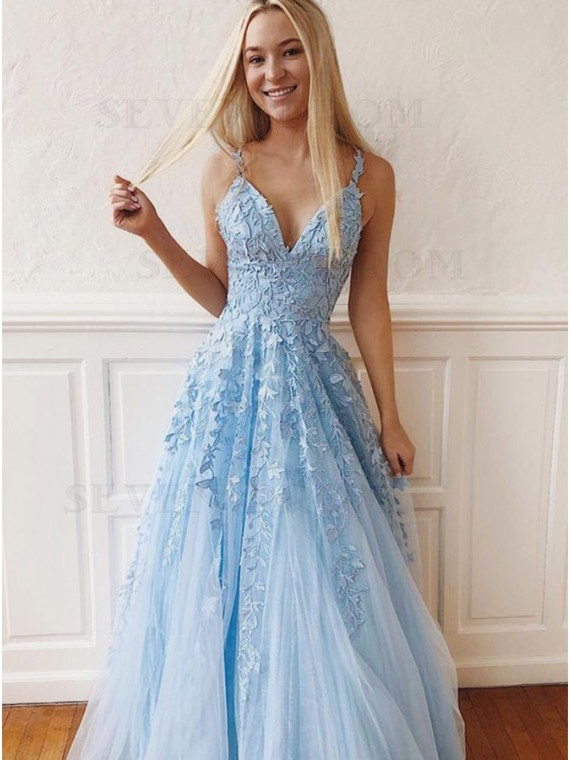 Buy Spaghetti Straps Light Blue Prom Dress with Appliques .