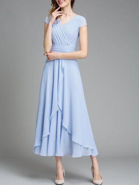 Shop Midi Dresses - Light Blue Short Sleeve Swing Chiffon Midi .