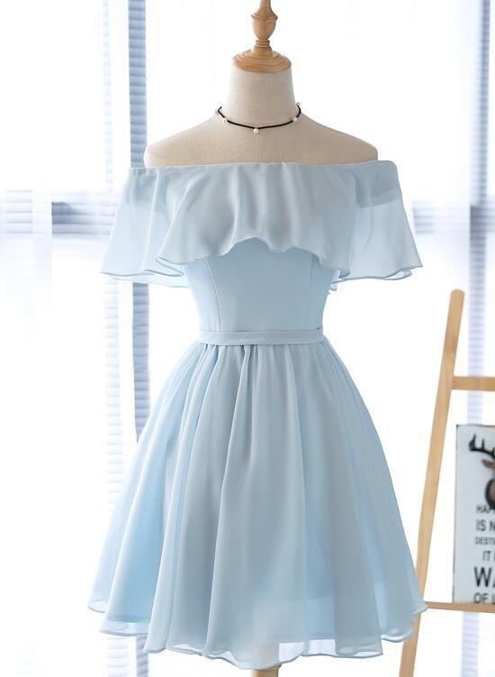Simple Light Blue Off Shoulder Formal Dress 2019, Short Party .