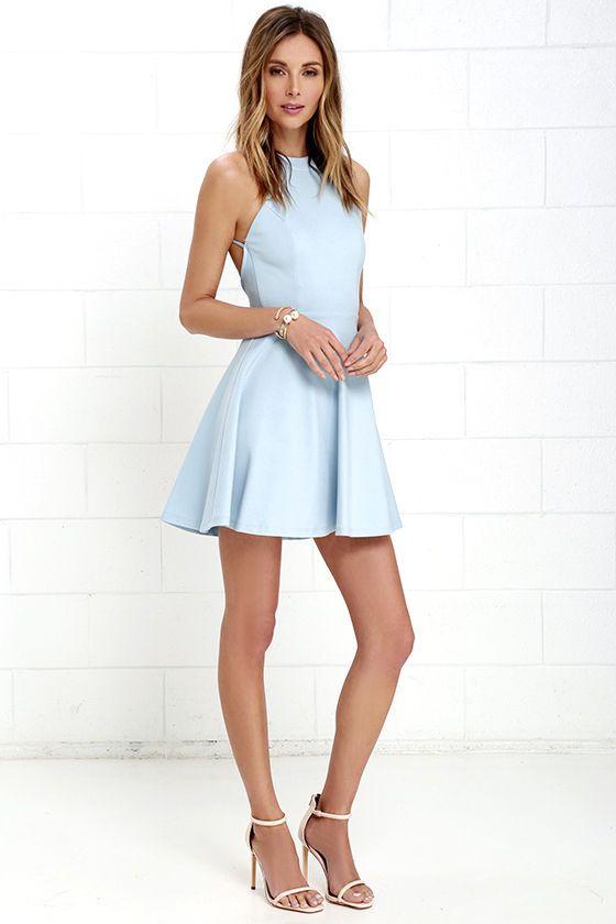 Delightful Surprise Light Blue Skater Dress at Lulus.com! in 2020 .
