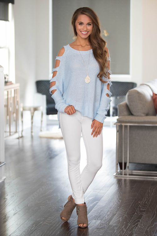 Had Me Smitten Sweater Light Blue - The Pink Lily | Trendy .