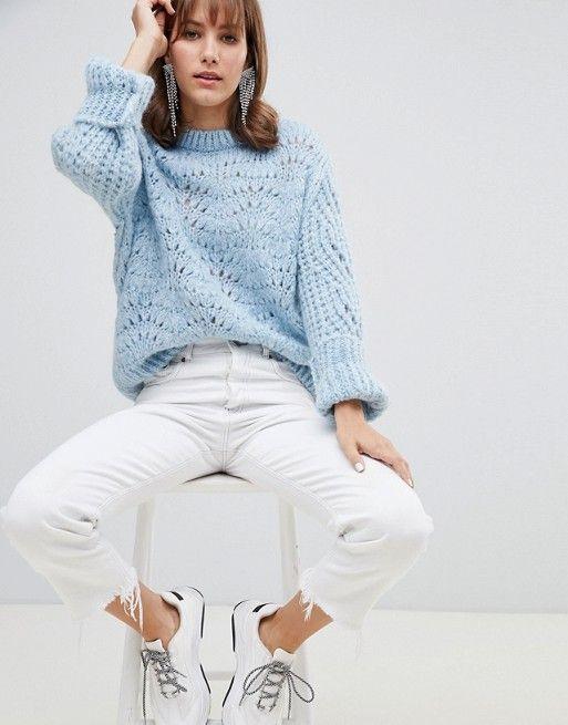 River Island | River Island stitch sweater in light blue .