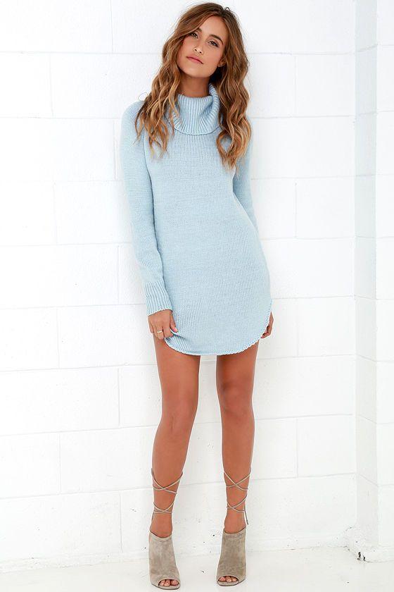 Good and Plenty Light Blue Sweater Dressat Lulus.com! | Sweater .