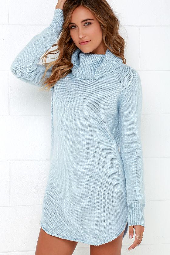 Light Blue Dress - Sweater Dress - Long Sleeve Dress - $66.