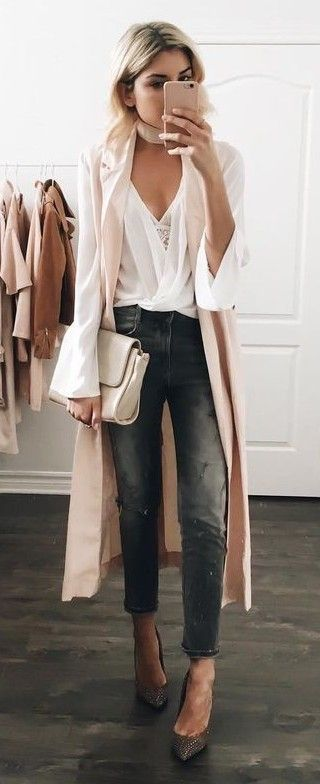 Light Pink Duster + White Blouse + Gray Denim | Fashion, Fall .