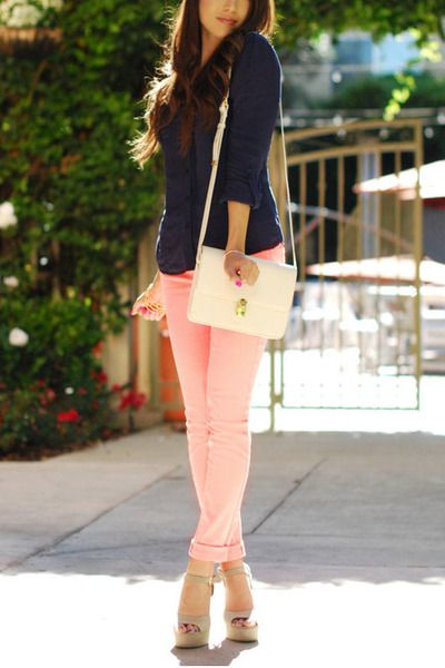 light pink jeans - navy shirt - white bag - eggshell heels | Light .