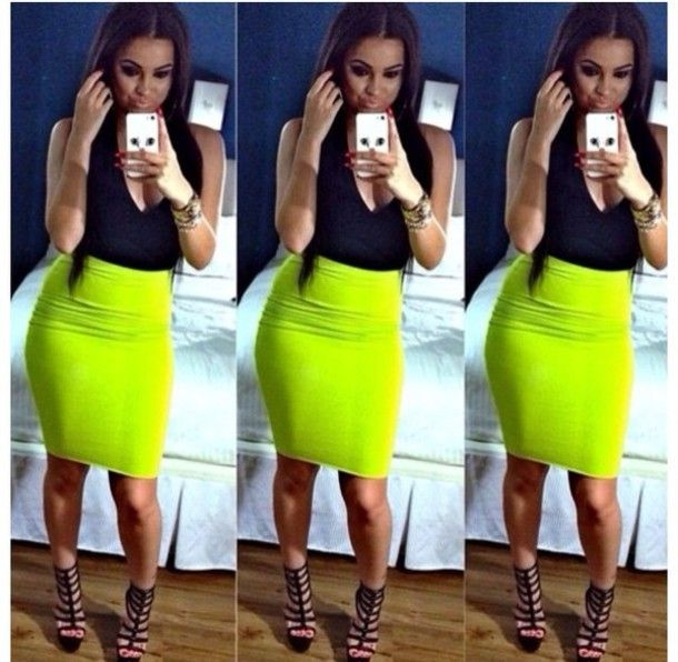 Dress, neon skirt, neon green, pencil skirt | Neon skirt, Neon .