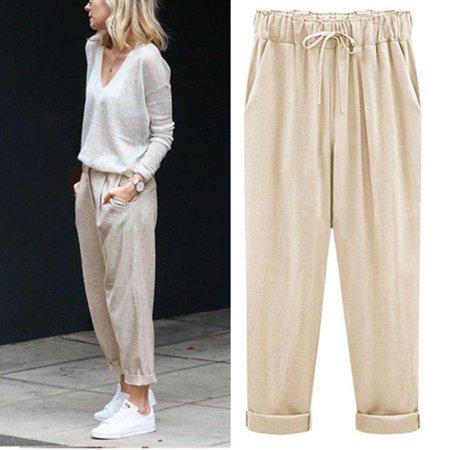 UKAP - Womens Linen Pant Casual Elastic Waist Ninth Pants Trousers .