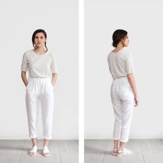 White linen pants loose linen trousers Washed women linen | Et