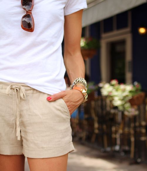 Lightweight, linen shorts. They can be dressed up or down and .