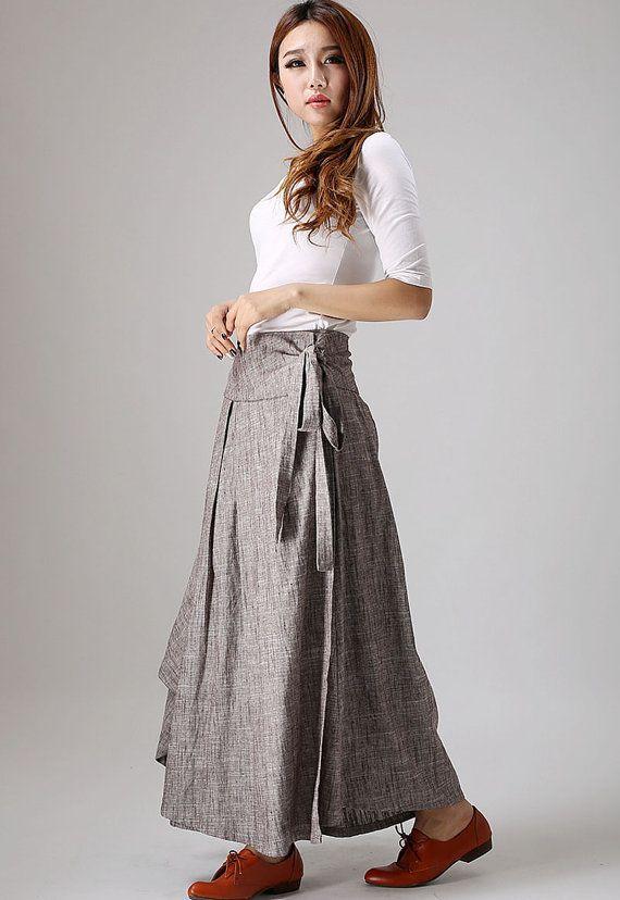 Linen skirt pockets, linen skirt, wrap skirt, linen wrap skirt .