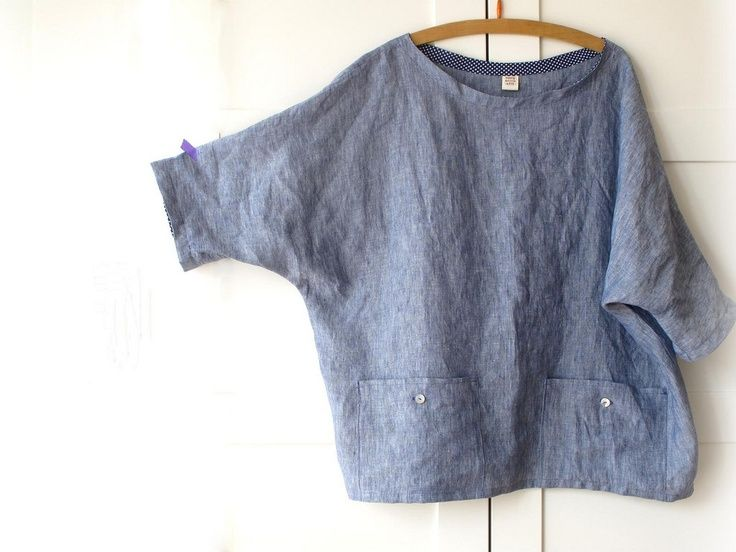 Women linen blouse, plus size top with pockets, oversized linen .