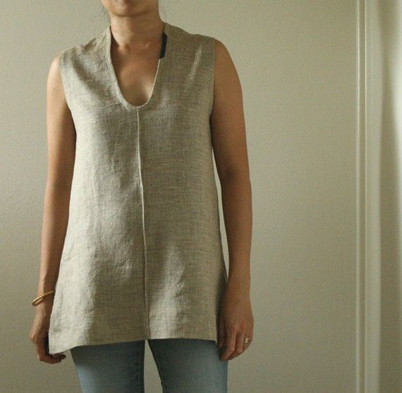 NATURAL LINEN TUNIC / tank / top / women's linen clothing / eco .