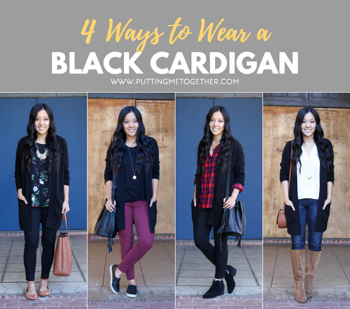 4 Ways to Wear a Black Cardigan | Black cardigan outfit, Black .
