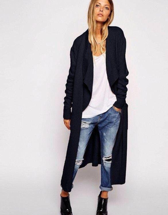 Long black sweater coat // long black cardigan | Long black .
