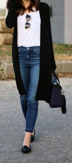 167 Best black cardigan images | Black cardigan, Fashion, Sty