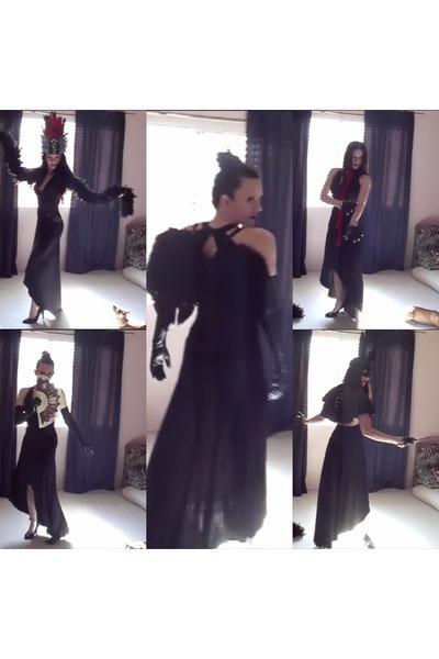 Black Backless Thrifted Dresses, Black DIY Capes, Black Gloves .