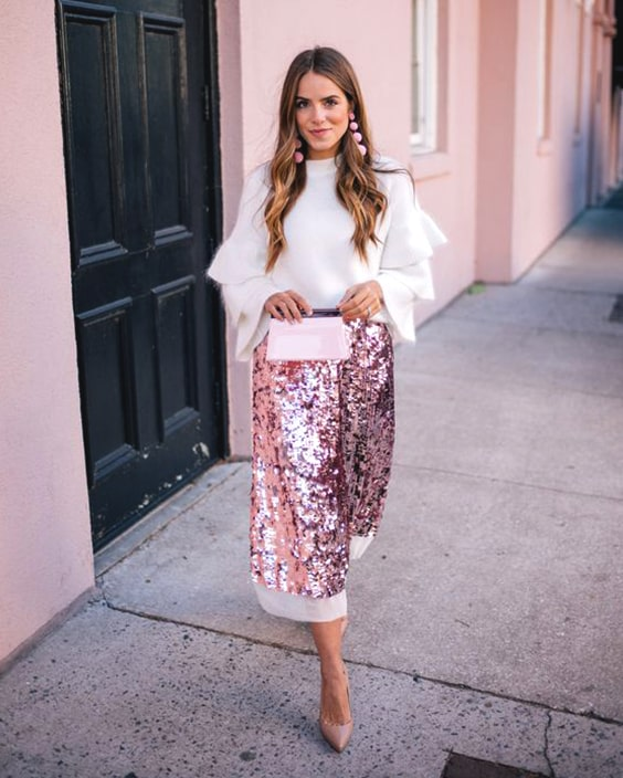 pink-long-sequin-skirt-white-blouse-outfit-christmas-outfit-ideas .