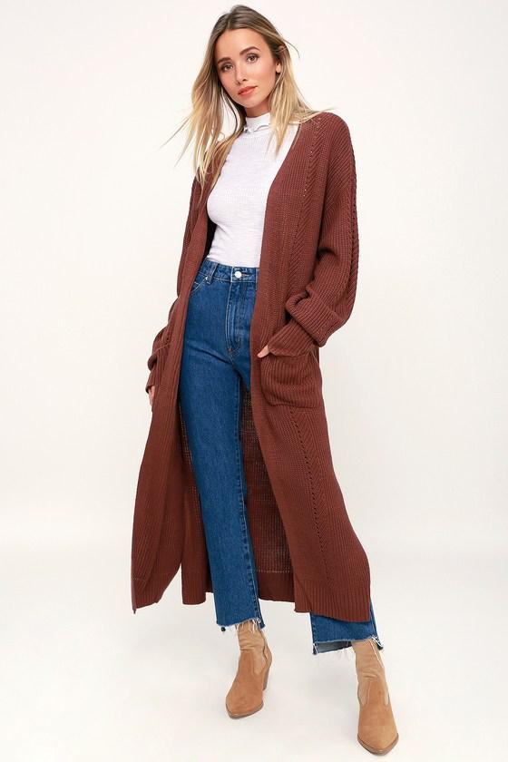 Cute Long Cardigan - Maxi Cardigan - Rust Brown Cardig