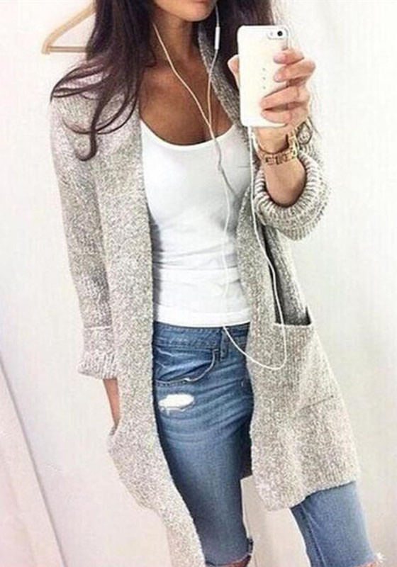Grey Pockets Crop Plus Size Long Sleeve Casual Going out Cardigan .