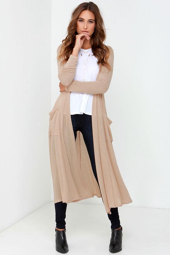 Beige Sweater - Long Cardigan - Long Sweater - $48.
