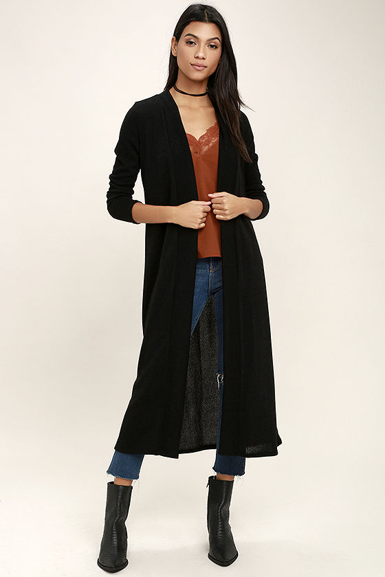 Chic Black Cardigan - Long Cardigan Sweater - Open Front Cardigan .