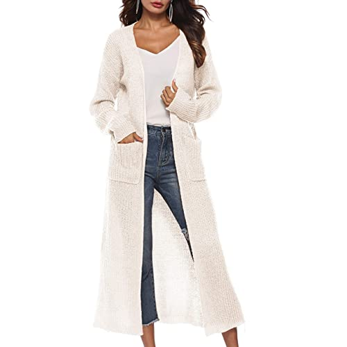 White Long Sweater Coats with Pockets: Amazon.c
