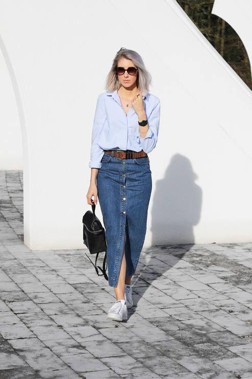 Denim Button Skirt Outfit Idea | Long denim skirt outfit, Long .