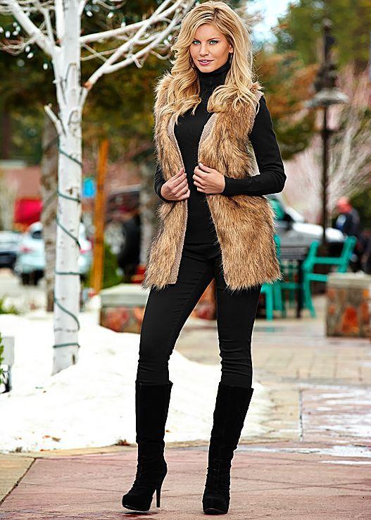 OFF WHITE MULTI Faux fur vest, essential turtleneck, denim, ruched .