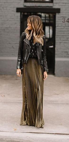 biker jacket. metallic pleated skirt. street style. | Fashion .