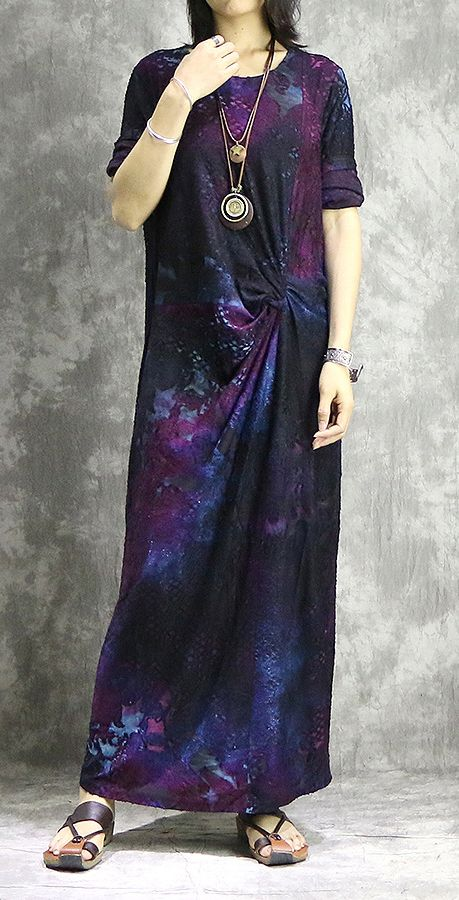 DIY o neck blended outfit Casual Shape purple prints long Dress .