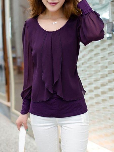 Special Falbala Decoration Chiffon Blouse | Women shirts blouse .