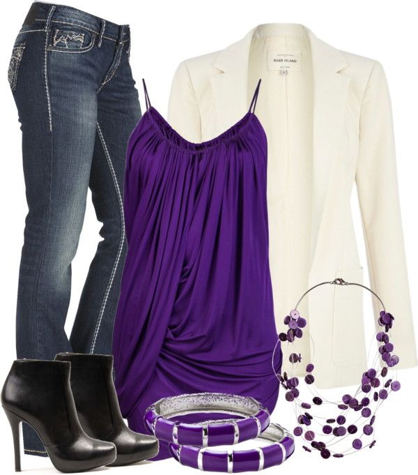 Purple & White in 2020 | Fashion, Stylish outfits, Cloth