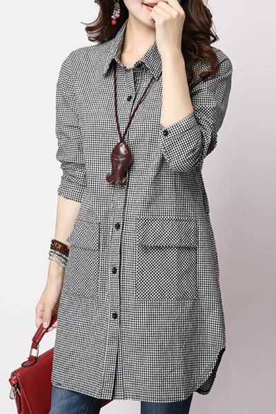 Casual Long Sleeve Shirt Collar Plaid Loose-Fitting Women's Shirt .