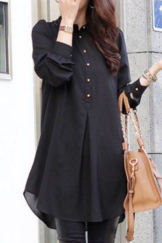 Stylish Shirt Collar Loose-Fitting Lace Splicing Long Sleeve .
